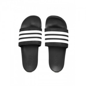 Adidas Men Black & White Striped Adilette Comfort Sliders