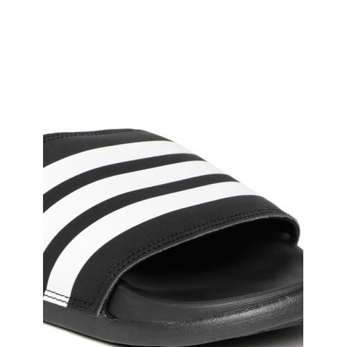 Adidas Men Black & White Striped Adilette Comfort Sliders