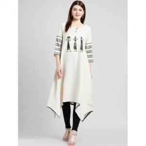 Kira Women Off-White & Black Printed A-Line Kurta