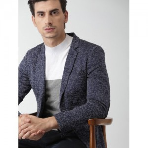 INVICTUS Navy Self-Design Slim Fit Single-Breasted Casual Blazer