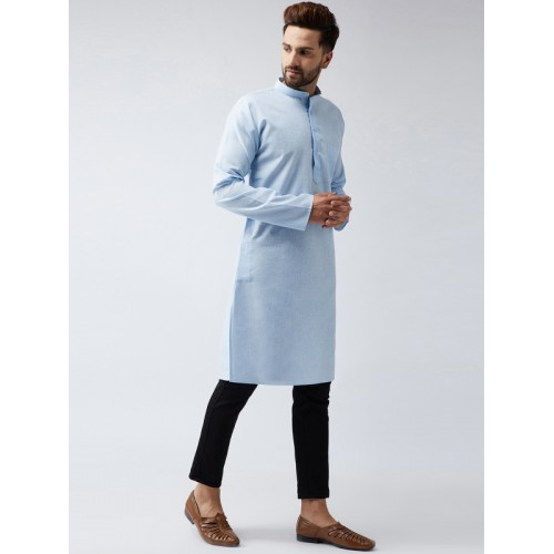 SOJANYA Men Blue Solid Straight Kurta