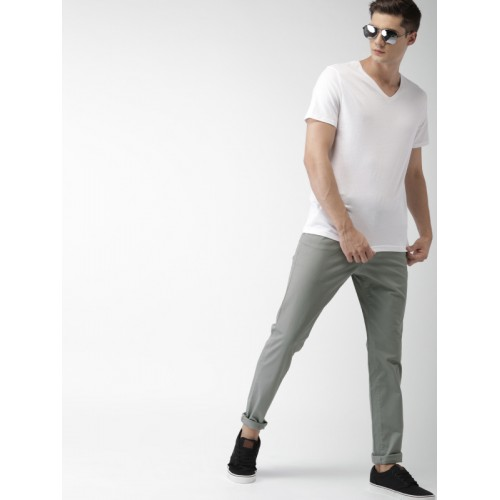 Mast & Harbour Men Grey Cotton Elastane Slim Fit Solid Chinos