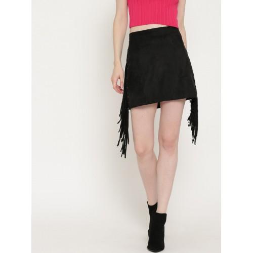 FOREVER 21 Black Fringed Mini Skirt