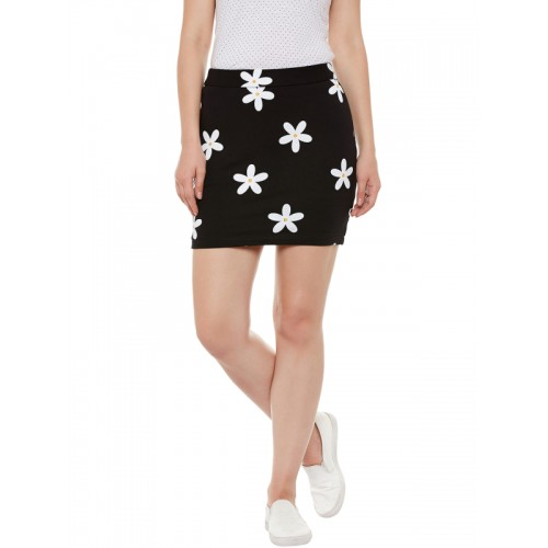 Rider Republic Black Floral Print Mini Pencil Skirt