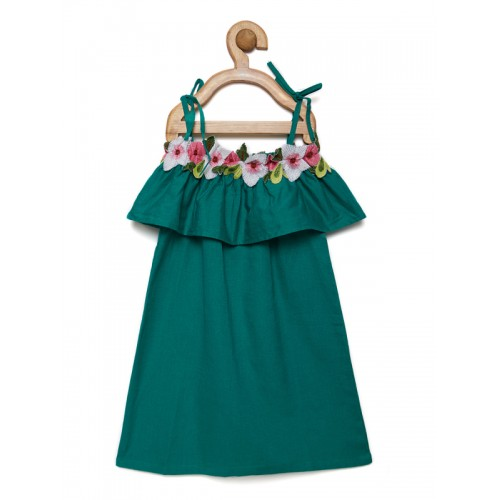 Fairies Forever Girls Green Solid A-Line Dress