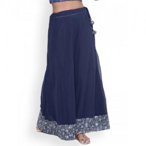 9rasa Blue Printed Maxi Skirt