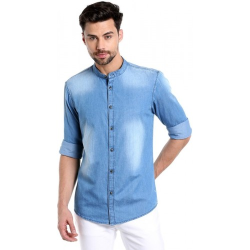 Dennis Lingo Men's Solid Casual Spread Shirt