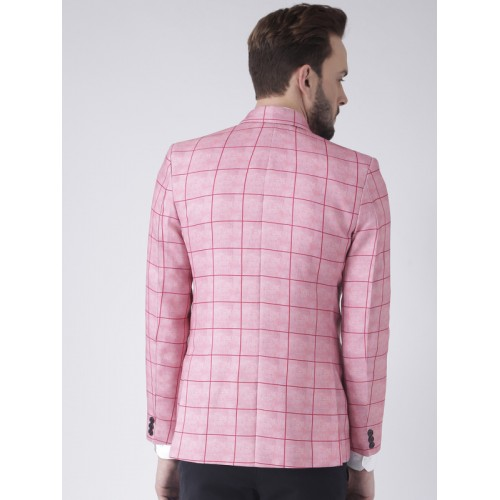 Hangup Men Pink Checkered Slim Fit Blazer