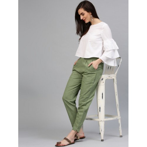 Jaipur Kurti Olive Green Cotton Solid Trousers