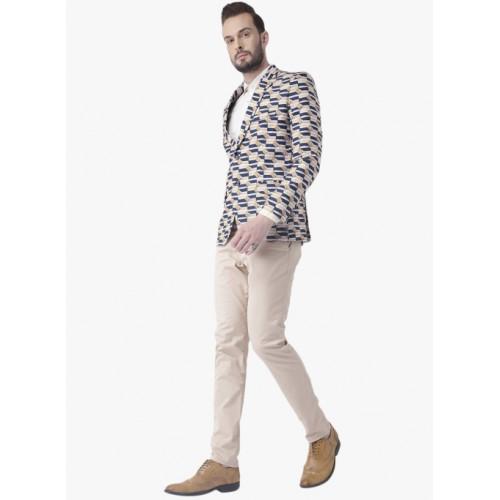 Hangup Men Multicoloured Slim Fit Printed Blazer
