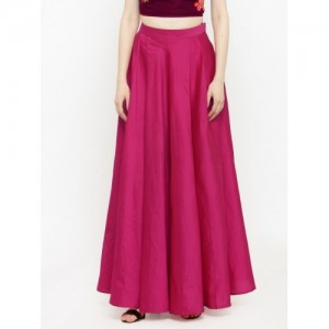 Just Wow Solid Women's Pleated Pink Skirt