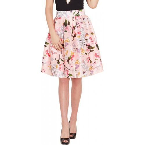 Sassafras Floral Print Women's Pleated Pink Skirt