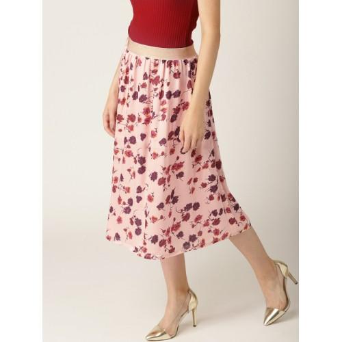 ESPRIT Women Pink & Purple Floral Printed A-Line Skirt