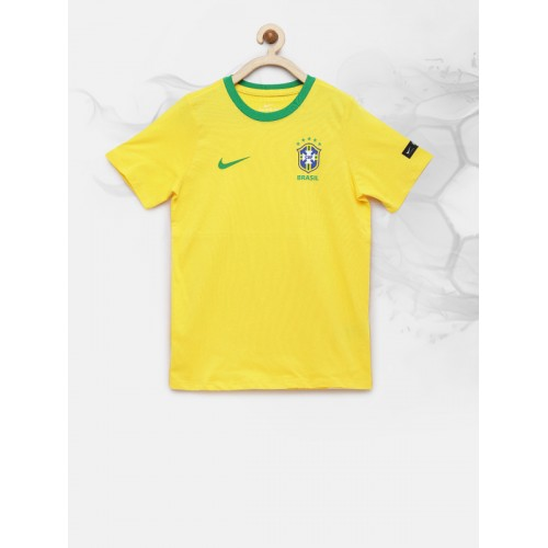 Nike Boys Yellow Solid Round Neck T-shirt