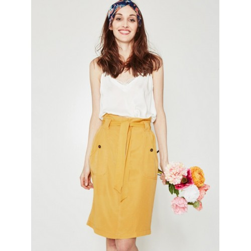 promod Mustard Yellow Belted A-Line Skirt
