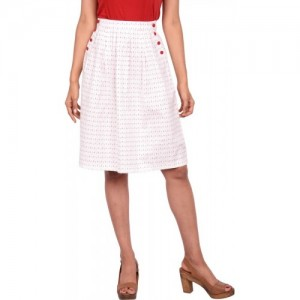 TagWithTog Printed Women Pleated White Skirt