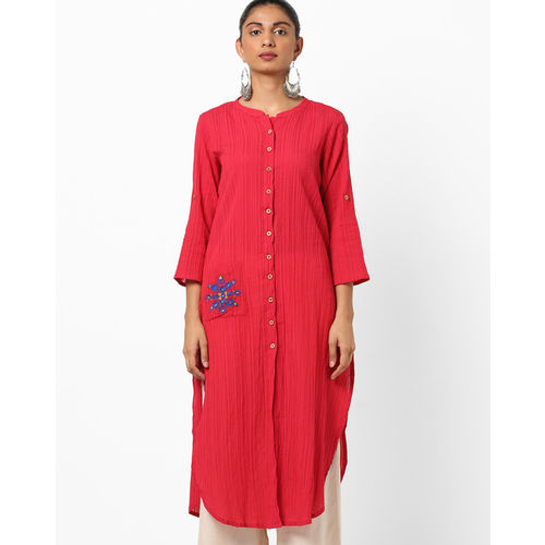 Global Desi Crinkled Straight Kurta with Patch Pocket