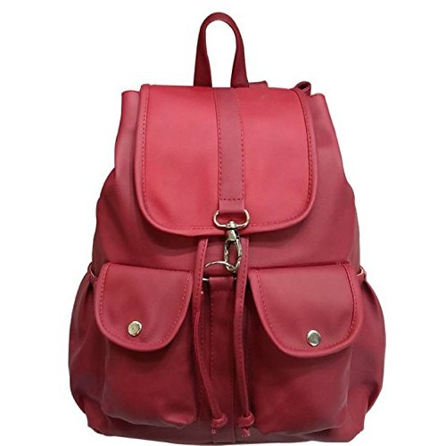 Redlicchi Red PU Leather Backpack for Women