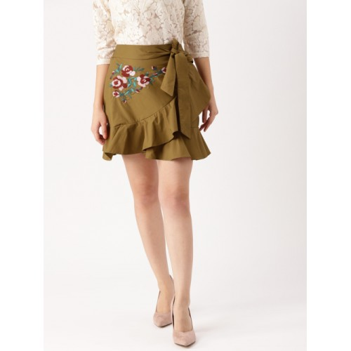 d3f992cfa20 Buy DressBerry Brown Embroidered Mini Skirt online | Looksgud.in