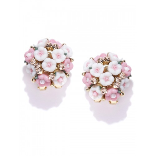 YouBella White & Pink Floral Studs