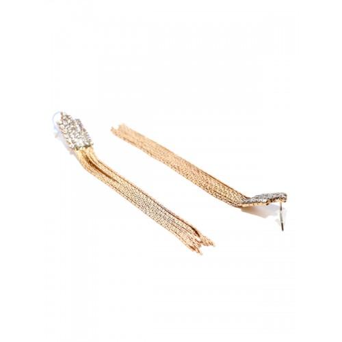 YouBella Gold-Toned Stone-Studded Tasselled Drop Earrings