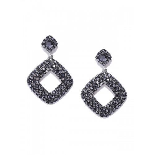 YouBella Grey Silver-Plated Geometric Drop Earrings