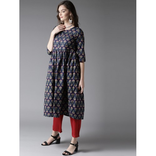 HERE&NOW Women Navy Blue & Pink Printed A-Line Kurta