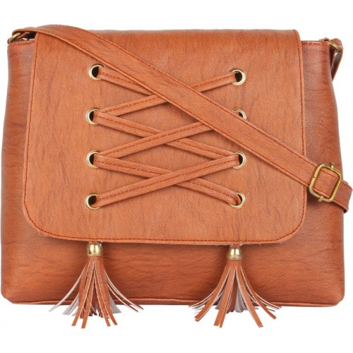Bpbag1 Women Casual Brown PU Sling Bag