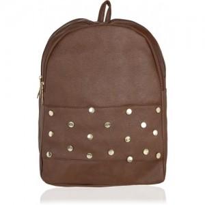 Kleio Designer Studded Backpack for Women / Girls 12 L Backpack(Brown)