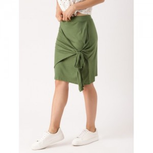 DressBerry Olive Green Pencil Skirt
