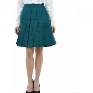 Hepp Solid Women's Pleated Green Skirt