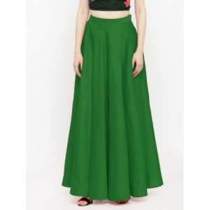 Just Wow Solid Women's Pleated Green Skirt