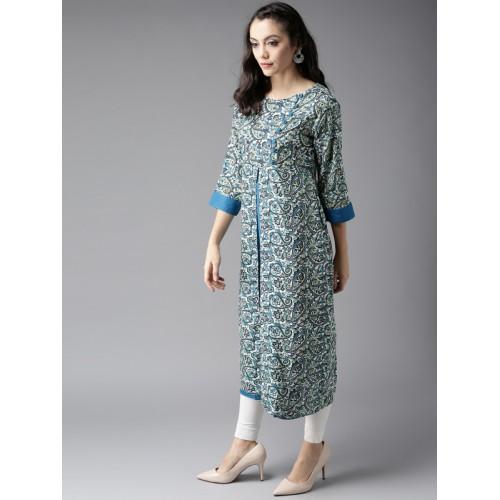 Moda Rapido Women Off-White & Blue Printed Layered A-Line Kurta