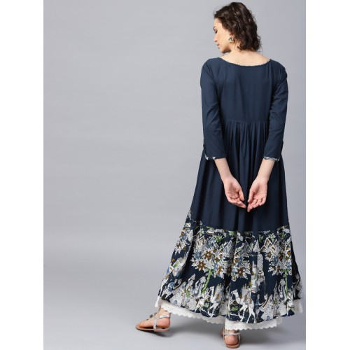 Nayo Blue Cotton Printed Anarkali Kurta