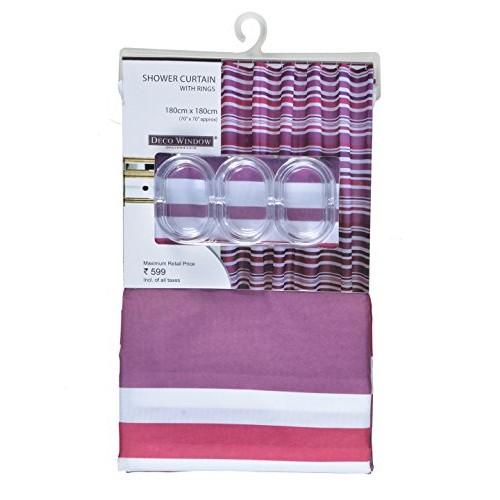"Deco Window Waterproof Shower Curtain with 12 Hooks for Shower, Bathtub 71""(W) X 71""(H) (Multi Amethyst)"