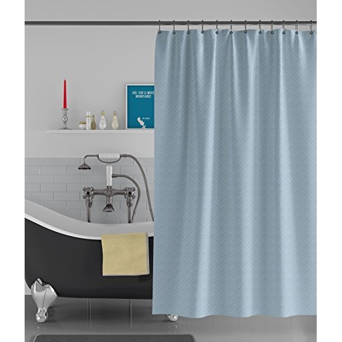 American-Elm Box Textured Light Blue Water-Repellent Anti Bacterial Shower Curtains Or Bathroom Curtains (72 x 96 inch, Light Blue)