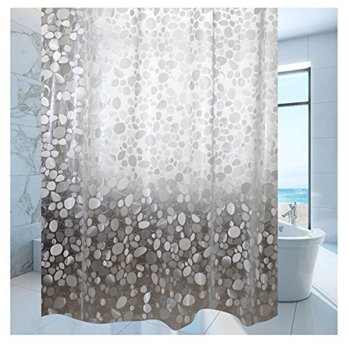 Khushi Creation PVC Shower Transparent Curtain in Coin 3D Design (Width-52 inches X Height-82 inches) 7 Feet