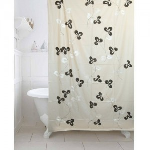 Kuber Industries PVC Shower Curtain 213 Cm 7 Ft Single CurtainFloral Grey
