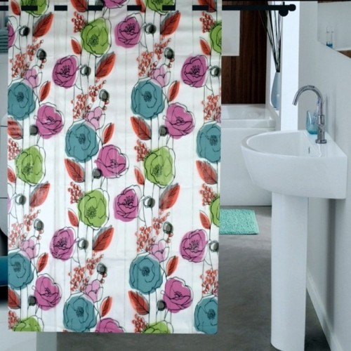 Exceptional Enfin Homes PVC Shower Curtain 180 Cm (6 Ft) Single Curtain(Floral  Multicolor