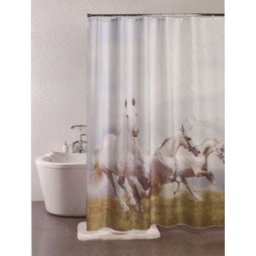 Linenwalas PVC Shower Curtain 198 Cm (6 Ft) Single Curtain(Animal Horses)