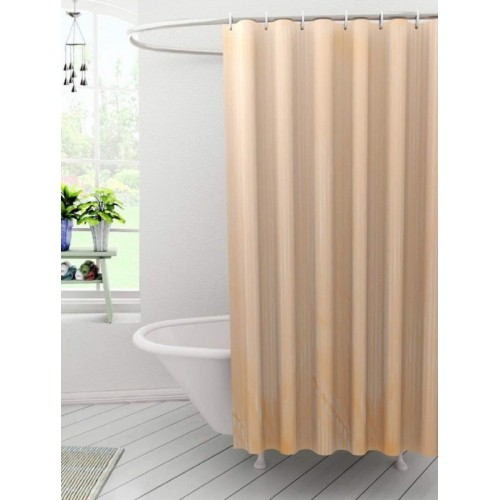Kuber Industres Polyester Shower Curtain 210 cm (7 ft) Single Curtain(Striped Orenge)