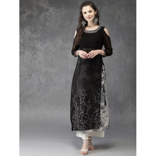 Anouk Women Black Embroidered Cold-shoulder A-Line Layered Kurta