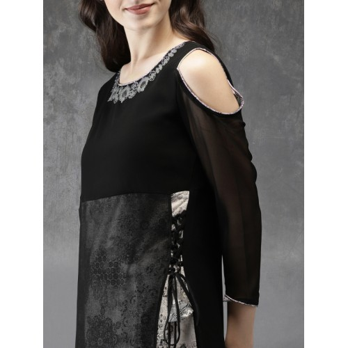 Anouk Women Black Embroidered Cold-shoulder A-Line Layered Kurta