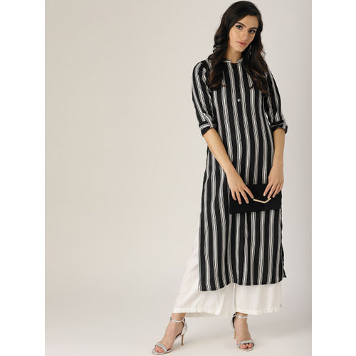 Libas Black Striped Kurta