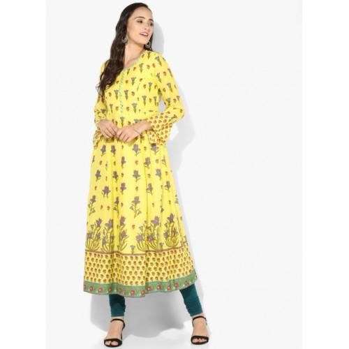 750309e378d Buy Biba Yellow Printed Kurta online