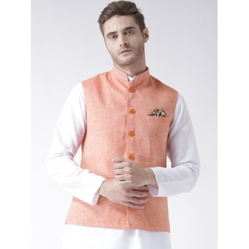 Hangup Men Orange Woven Linen Blend Nehru Jacket
