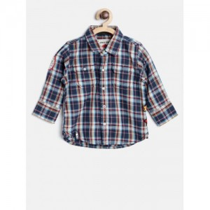 Gini and Jony Boys Navy & Off-White Regular Fit Checked Casual Shirt
