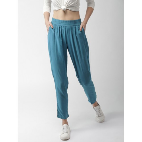 Mast & Harbour Women Teal Blue Regular Fit Solid Peg Trousers
