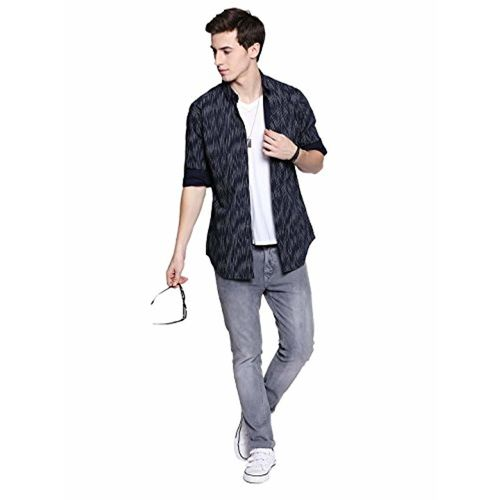 Dennis Lingo Men's Printed Navy Slim Fit Casual Shirt