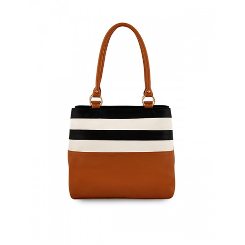 LaFille Tan Brown & Black Striped Shoulder Bag